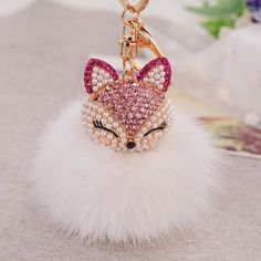 Pink/White Fox PomPom/FurBall Keychain/Bag Charm This Gorgeous PomPom will give a fantastic look to your bag or keys. FAUX Fur Boutique Bags