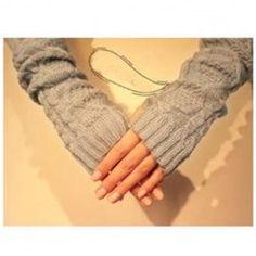 $3.45 Warm-Keeping Overlength Prismatic Shape Flax Patterns Half Mitten For Women