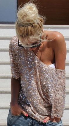 This is for my friend who has got me to take a look at Victoria Secret clothing. This light colored over-sized glitzy top is so cool. In addition, I can still pull this look off in my 40's.