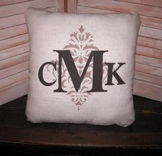 14 x 14 MONOGRAM STENCIL Pillow Monogram by FannyElizabethDesign. making this for my brother and nat's 1 year anniversary