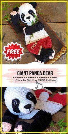 crochet Giant Panda Bear free pattern - easy crochet animal pattern for beginners Easy Crochet Animals, Crochet Panda, Crochet Teddy, Knitted Animals, Crochet Animal Patterns, Crochet Patterns Amigurumi, Crochet For Kids, Free Crochet, Crochet Dolls