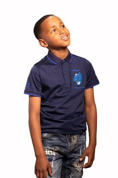 Junior Flair Golf T-Shirt Golf T Shirts, Little Man, Smart Casual, Navy And White, Kids Fashion, Shirt Designs, Formal, Mens Tops, How To Wear
