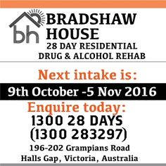 Beginning of a great journey starts today - a day at a time.  Next 28 Day Live in program will be 9th October -5 November 2016.  call for confidential assessment and  to answer any questions. 1300 28 DAYS (1300 283297)
