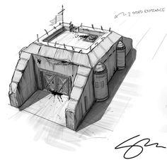 Zombie Gunship: Zombie Safe Bunker Concept Art A Futuristic Art, Futuristic Architecture, Tower Defense, Bunker, Spaceship Interior, Surface Modeling, Anime City, Building Concept, Wargaming Terrain