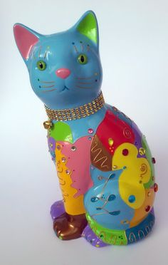 """Big Statue of cat in ceramic """"Romeo"""", decoration or collection, by Laure Terrier Height : 10 pouces"""