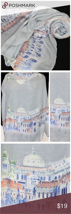 """B119 Gray Blue Historic Castle Architecture Scarf ‼️ PRICE FIRM UNLESS BUNDLED WITH OTHER ITEMS FROM MY CLOSET ‼️     Castle Scarf  Really fun.  Versatile & beautiful gray/blue tones. 100% viscose.  35"""" wide, 70"""" long.  Please check my closet for thousands more items including designer clothing, handbags, shoes, jewelry & more! Accessories Scarves & Wraps"""
