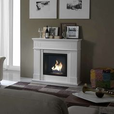 Bioethanol Fireplace 22 by Stones/MDF structure in white, classic design
