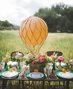 Wedding Table Decoration // WIZARD OF OZ WEDDING inspiration with hot air balloon table centerpiece by Analisa Joy Photography. Design Floral, Deco Floral, Wedding Themes, Wedding Decorations, Table Decorations, Wedding Ideas, Wedding Receptions, Balloon Decorations, Reception Ideas