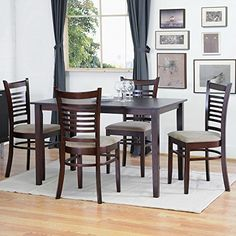 Baxton Studio Cathy 5-Piece Brown Wood Modern Dining Set  