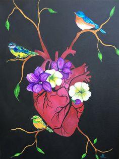 Original Beating Heart Anatomical Human Anatomy by DannaLivingston