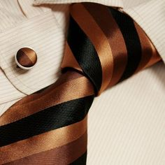 Brown Striped Mens Dress Ties Black Stripes Fashion Silk Tie Set