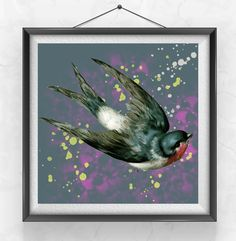 Sparrow Printable Artwork, Bird Art Print, Digital Download, Painting Watercolor, Vintage image, Wall Poster Decor Square 12x12 Downloadable - pinned by pin4etsy.com