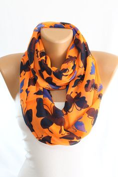 NEW Butterfly Scarf Orange Scarf Navy Scarf Saxe Scarf by escherpe