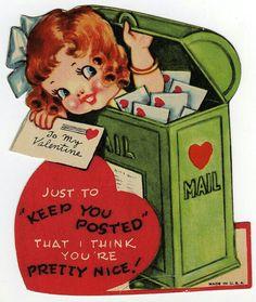 """Vintage Valentine vintage valentine I'm coming up to ask you to be my Valentine. Vintage Valentine """"Keep You Posted"""" - Vintage Valentine Valentines Greetings, My Funny Valentine, Vintage Valentine Cards, Vintage Greeting Cards, Vintage Holiday, Valentine Day Cards, Vintage Postcards, Happy Valentines Day, Valentine Ideas"""
