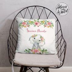 Personalized Elephant Pillow, Elephant Gifts, Custom Name Pillow, Elephant Nursery Decor, Elephant Baby Shower Gift, Girl, Elephant Cushion