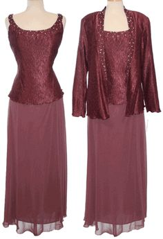 Burgundy Chiffon Dress for Mothers of Bride with Long Sleeves Bolero #burgundy #dressesformothers