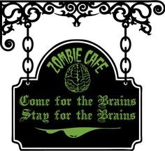 SALE Zombie Cafe Sign Vinyl Wall Decal-Choose any 2 colors. $23.50, via Etsy.