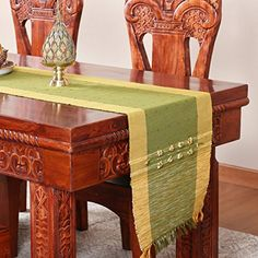 Orien Home Vintage Bronzing Table Runner Tablecloth Tassel Tea Cup Table Cloth Mats 33x180CM, Black