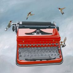 This magical typewriter has unique keys-it only types letters of love. Ruby-throated hummingbirds flit around to celebrate. This piece is perfect for home or office decor. This item is final sale and non-returnable. Grand Canyon University, Nerd Decor, Work Cubicle, Antique Typewriter, Vintage Typewriters, Love S, Office Decor, Art Prints, Writing