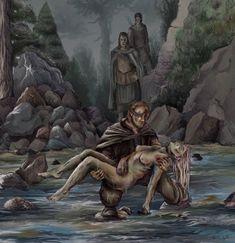 Ilustração por garleta. Na imagem, Beric e seus companheiros encontram o corpo de Catelyn no Tridente.