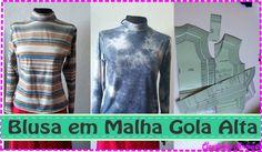 Blusa Com Gola Alta e Manga Longa em Malha- Molde Corte e Costura-Maximolde