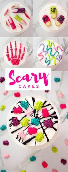 Make halloween sweeter with these 5 easy to bake scary cakes. From fangs & fingers, to a cookie graveyard - these spooky cakes for Halloween will Spooky Halloween, Halloween Cakes, Halloween Treats, Halloween Decorations, Halloween Party, Halloween Drinks, Halloween Stuff, Scary Cakes, Finger