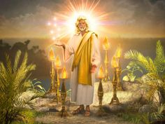 John heard a might voice like a trumpet and turned to see the glorified body of Jesus the Christ who was standing in the midst of 7 golden candlesticks.