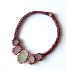 5 seaglass bib necklace statement Wedding prom choker pink burgundy... ($65) ❤ liked on Polyvore