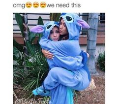 Perfect onesie for best friends that love to hug! Rock it with a matching stich pillow pet and phone case. #onesiefriends