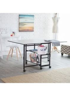 Sullivans Adjustable Home Hobby Table - Crafters, scrapbookers, sewers, and quilters rejoice! The Sullivans Adjustable Home Hobby Table is the perfect addition to your crafting room. This li. Fabric Cutting Table, Cutting Tables, Foldable Table, Sewing Table, The Ordinary, Diy Home Decor, Room Decor, Closet, Design