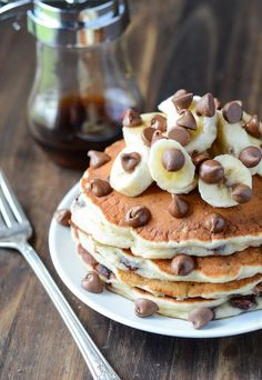 Banana Chocolate Chip Pancakes: These are my families favorite pancakes! They are ready in 20 minutes and are the perfect Sunday morning breakfast. Bonus - this is another great recipe to use up any over ripe bananas!