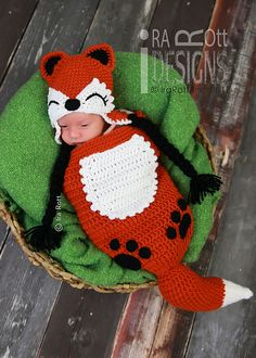 Roxy the Baby Red Fox Animal Hat & Sleeping Bag Cocoon Set Crochet Pattern