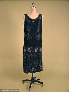 BEADED BLACK CHIFFON FLAPPER DRESS Silk, sleeveless w/ stylized floral pattern in rhinestones & glass beads, original silk slip