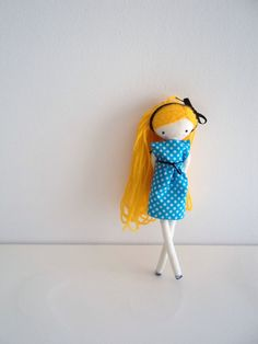 Pipi rag doll pocket size art rag cloth doll blue dress polka dots