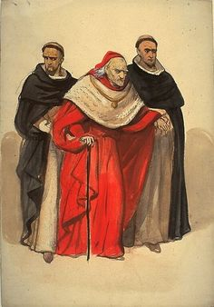 Kostümentwurf für den Großinquisitor gestützt von zwei Dominikanern, in 'Don Karlos, Infant von Spanien' von Friedrich von Schiller | Franz Gaul | Bildindex der Kunst & Architektur