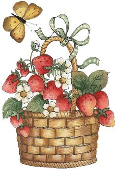 Fruit basket-illustration rnrnSource by Pintura Country, Cute Clipart, Country Paintings, Flower Images, Chalkboard Art, Digi Stamps, Art Pictures, Basket, Sketches