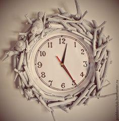 """Купить Часы """"Любовь"""" - белый, часы настенные, любовь, птички, птички на ветке, спальня"""