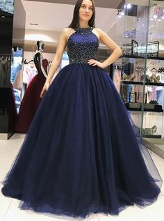 Prom Dress For Teens, Ball Gown Long Navy Blue Beading Tulle Princess Prom Dresses Quinceanera Dresses, cheap prom dresses, beautiful dresses for prom. Best prom gowns online to make you the spotlight for special occasions. Long Prom Dresses Uk, Princess Prom Dresses, Elegant Prom Dresses, Sweet 16 Dresses, Cheap Prom Dresses, Sexy Dresses, Evening Dresses, Dress Long, Pageant Dresses