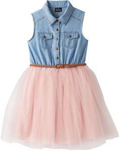 b9443379d5 Girls 7-16 Lilt Denim Mesh Tulle Belted Shirtdress Pink Tulle Skirt