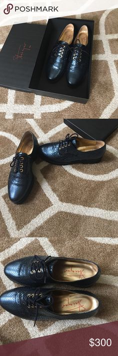 Steiger Paris Blue oxford flats In great condition only worn once, they're just really not my style anymore. Beautiful shoes though. Comes with box. If you have any questions please let me know! A nice royal blue color. steiger paris Shoes Flats & Loafers