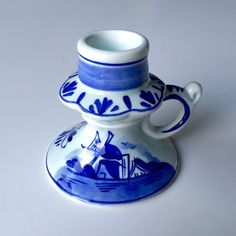Vintage Delft Blue & White Porcelain Chamberstick Candle Holder ft. Danish Windmill