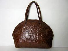 vintage brown vinyl large textured shoulder by dirtybirdiesvintage, $34.00