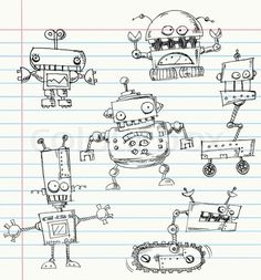 Robot doodles on a notebook paper stock vector