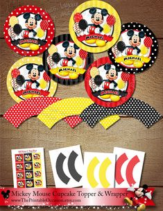 Mickey Mouse Cupcake Toppers and Wrappers, Mickey Mouse Party Circles Mickey Mouse Favor Tags Gift Tags Red Yellow Black DIY Printable Favor Tags, Gift Tags, Mickey Mouse Favors, Mickey Clubhouse, Circle Crafts, Craft Punches, Circle Punch, Cupcake Toppers, Craft Stores