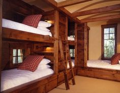 brown wall of bunk beds