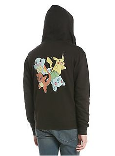 """Lightweight black French terry hoodie from <i>Pokemon</i> with a starter characters design on back that features Pikachu, Squirtle, Bulbasaur & Charmander. Drawstring hood, pouch pockets and front zip closure.<br><ul><li style=""""LIST-STYLE-POSITION: outside !important; LIST-STYLE-TYPE: disc !important"""">55% cotton; 45% polyester</li><li style=""""LIST-STYLE-POSITION: outside !important; LIST-STYLE-TYPE: disc !important"""">Wash cold; dry low</li><li style=""""LIST-STYLE-POSITION: outside !important;..."""