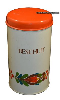 """Retro-Vintage biscuit tin by Brabantia Beautiful biscuit tin by Brabantia marked """"beschuit"""". Lid in orange. On side printed with stylized garland in orange, green and brown.   Height: 20 cm.  Diameter: 11 cm.  http://www.retro-en-design.co.uk/a-46603372/tins/retro-vintage-biscuit-tin-by-brabantia/"""