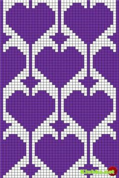 filet crochet or tapestry ♥ⓛⓞⓥⓔ♥ with heart motif Could use for stranded colorwork knitting Tapestry Crochet Patterns, Bead Loom Patterns, Beading Patterns, Cross Stitch Patterns, Heart Patterns, Knitting Charts, Knitting Stitches, Knitting Patterns, Bonnet Crochet