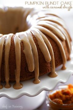 Pumpkin Bundt Cake with Caramel Drizzle from chef-in-training.com ....This cake is so delicious and moist and that caramel drizzle is to die for!