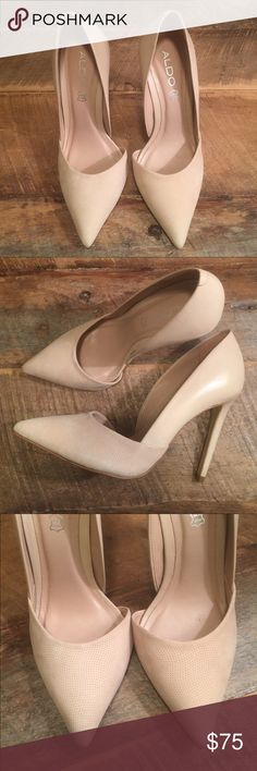 Stunning Aldo Classic Nude Heels Worn ONE TIME for two hours for my bridal shower. Love these I just have too many shoes. Great condition and gorgeous heels. Aldo Shoes Heels